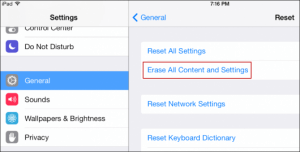 Format the iPhone through the Settings - Step 3