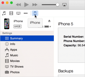 Format the iPhone using iTunes - Step 2