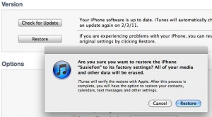 Format the iPhone using iTunes - Step 3