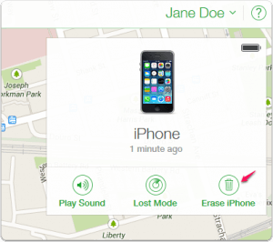 Erase iPhone using the Find My iPhone App - Step 3
