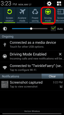 Driving-mode-option-from-notification-area