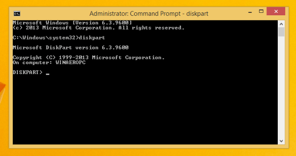 Diskpart is a console disk management
