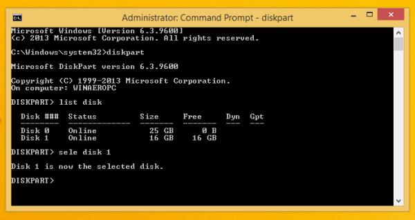 USB disk in diskpart
